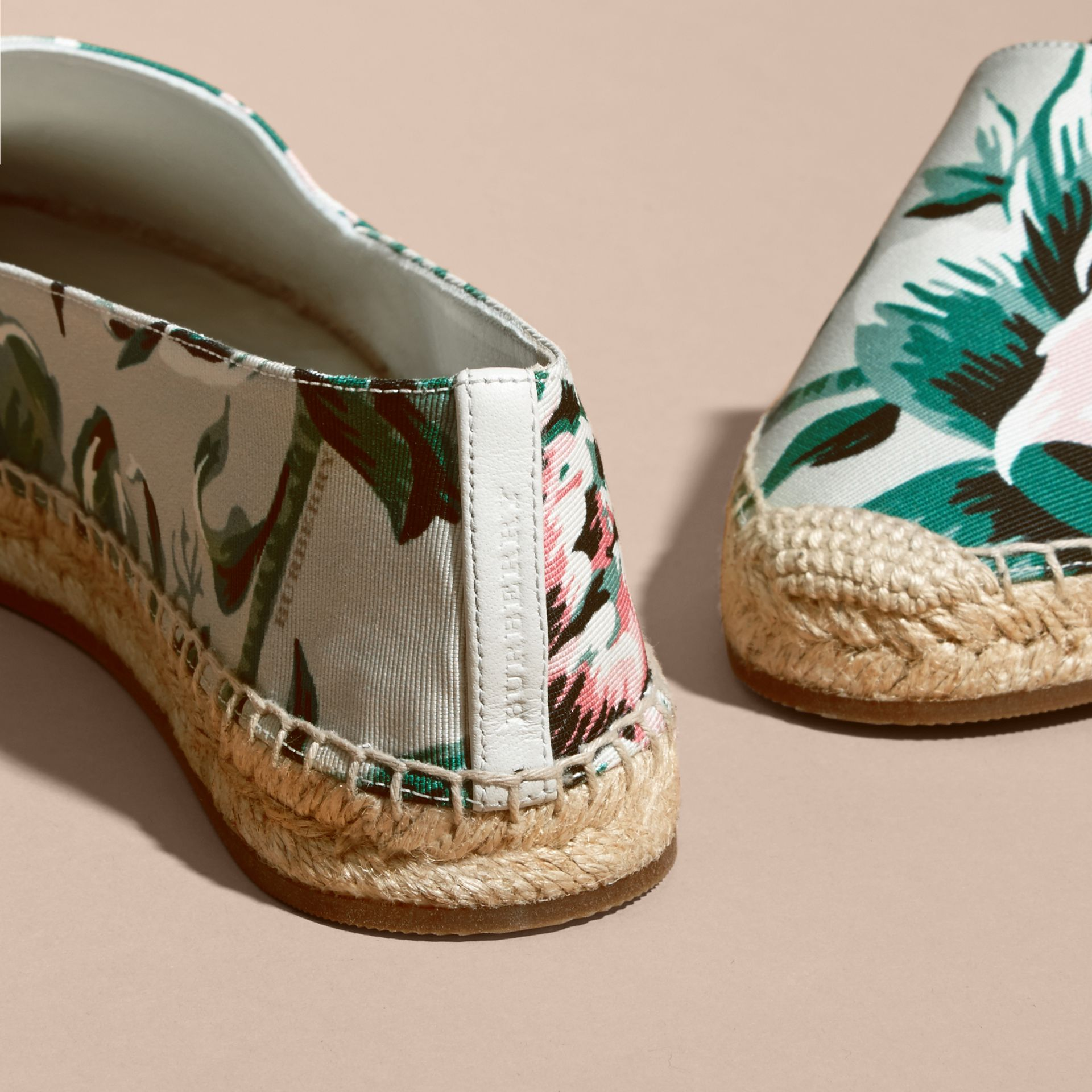 Peony Rose Print Canvas Espadrilles Emerald Green - gallery image 4