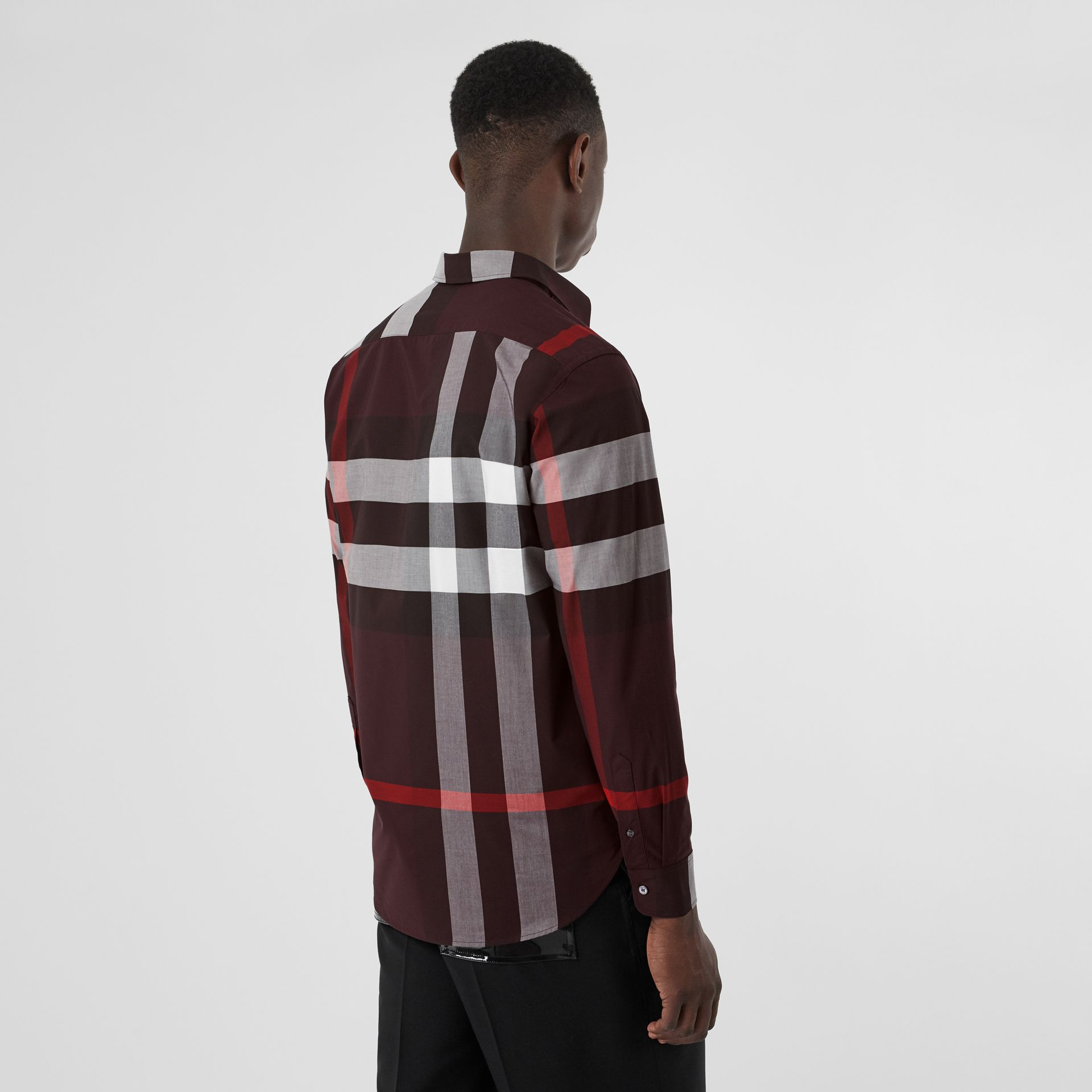 Check Stretch Cotton Shirt in Deep Claret - Men | Burberry - gallery image 2