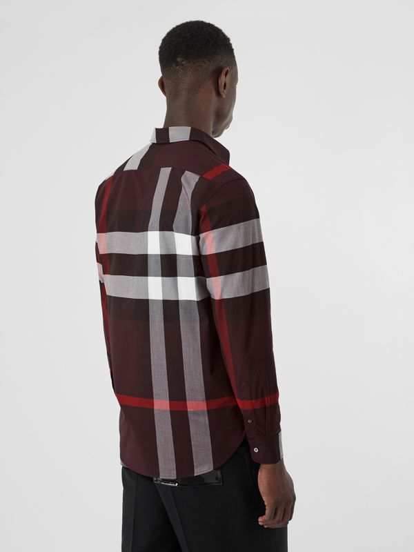 Check Stretch Cotton Shirt in Deep Claret - Men | Burberry United Kingdom - cell image 2