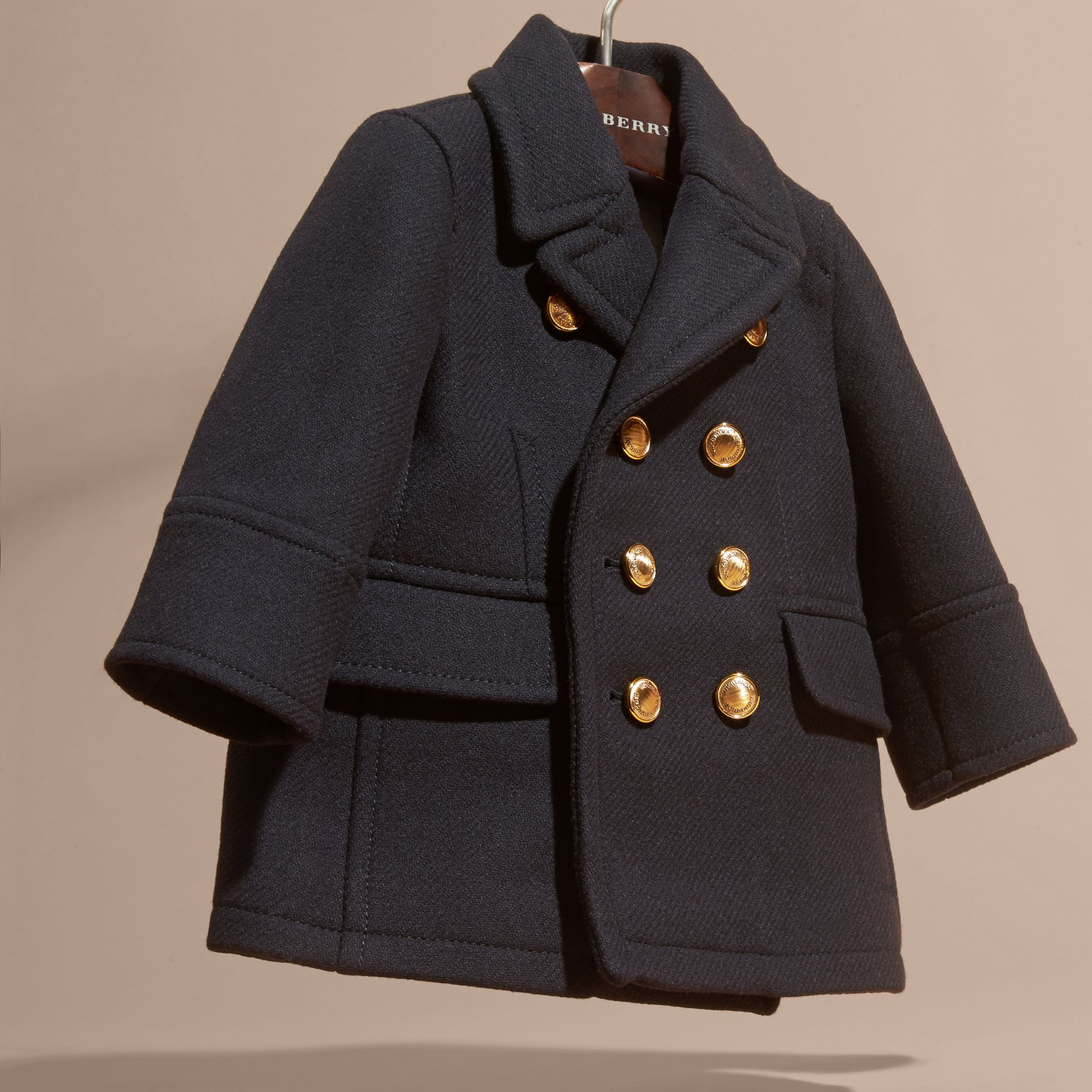Navy Wool Cashmere Blend Pea Coat - gallery image 3