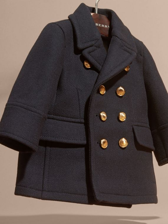 Navy Pea coat in misto lana e cashmere - cell image 2