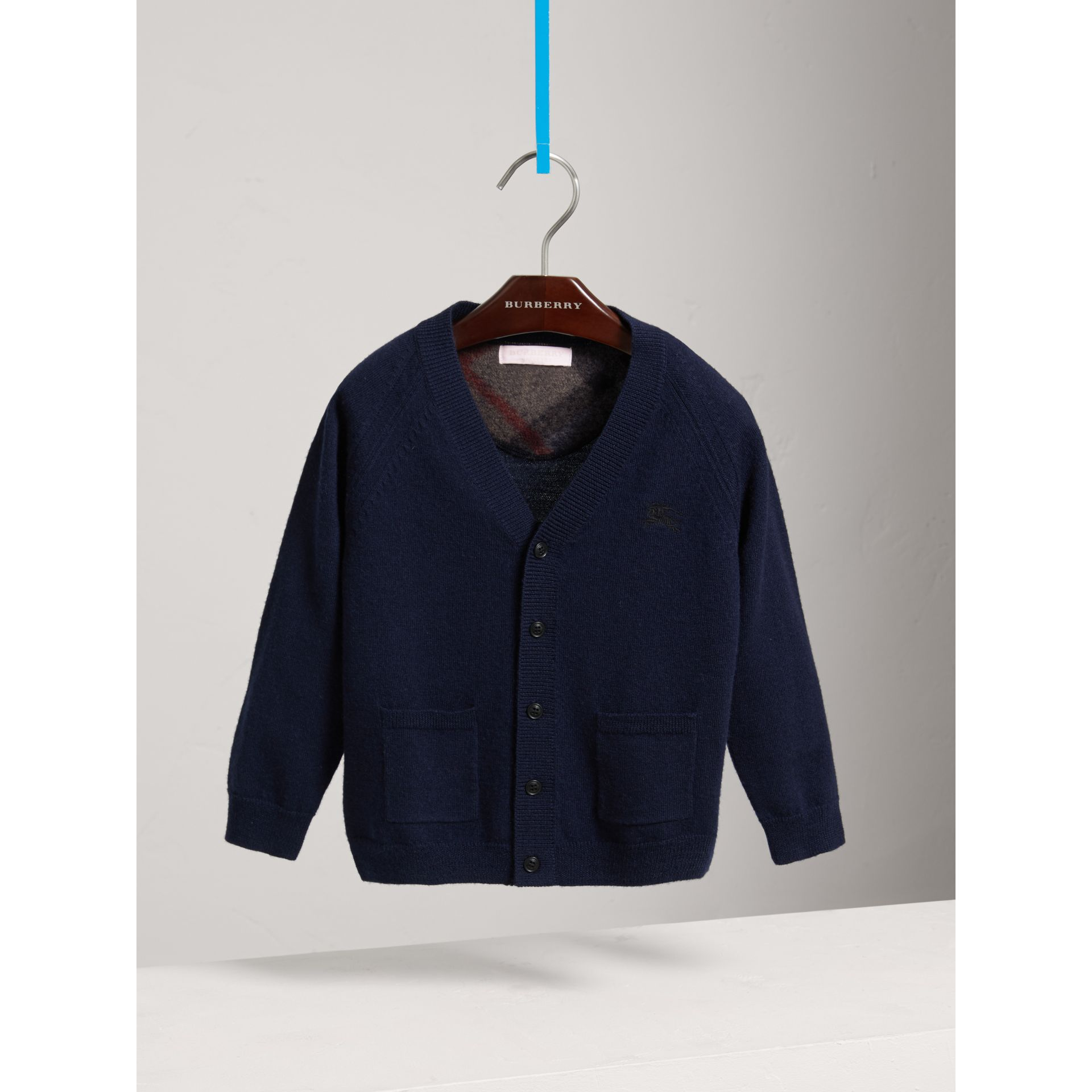 Check Detail Merino Wool Cardigan in Navy - Boy | Burberry - gallery image 0