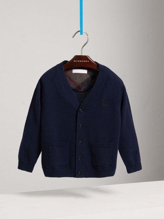 Check Detail Merino Wool Cardigan in Navy