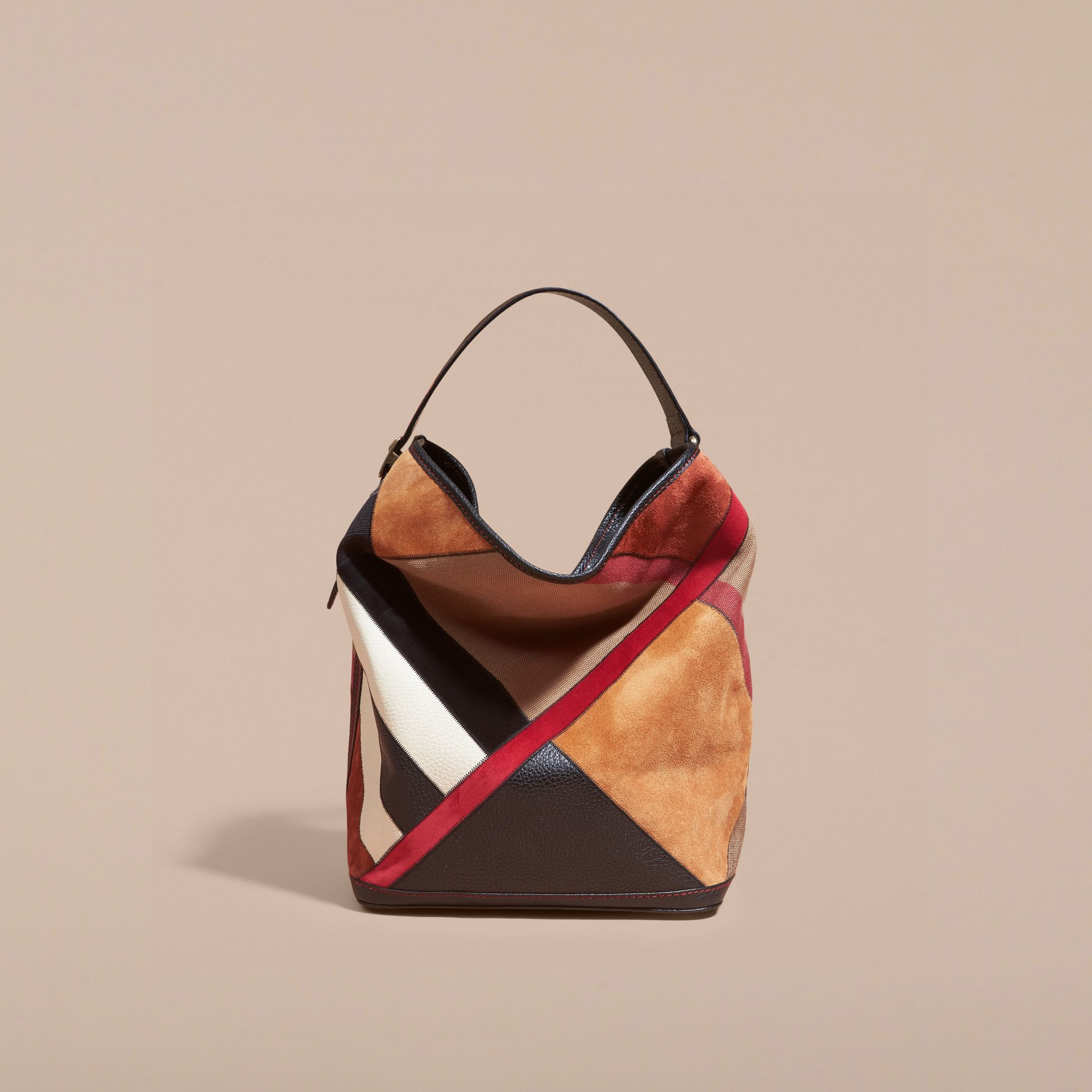 Sac The Ashby medium en toile Canvas check façon patchwork et cuir (Noir) - Femme | Burberry - photo de la galerie 8