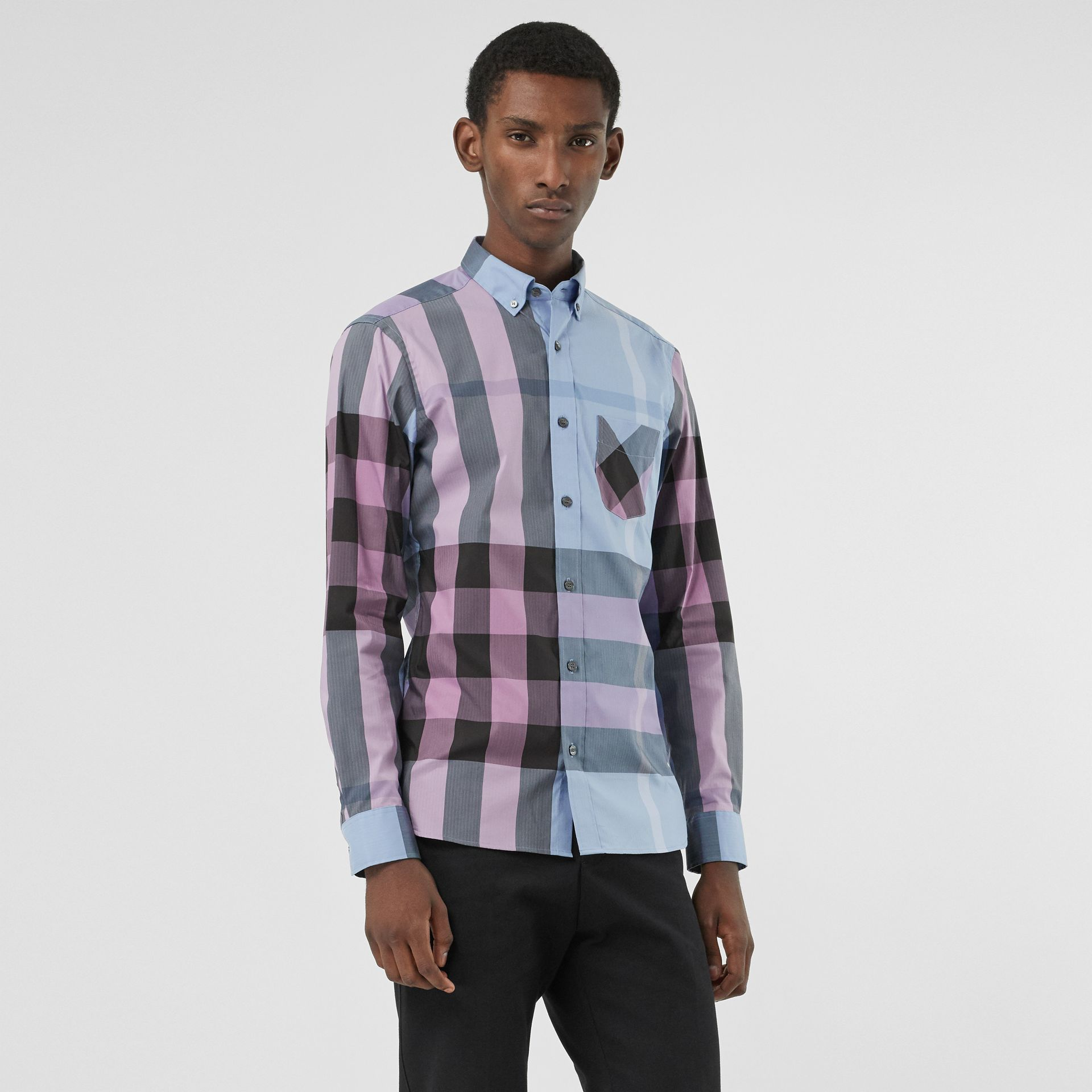 Button-down Collar Check Stretch Cotton Blend Shirt in Chalk Blue - Men | Burberry United States - gallery image 0
