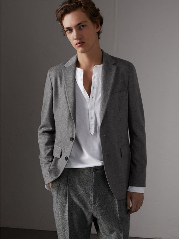 Soho Fit Cashmere Tailored Jacket in Mid Grey Melange
