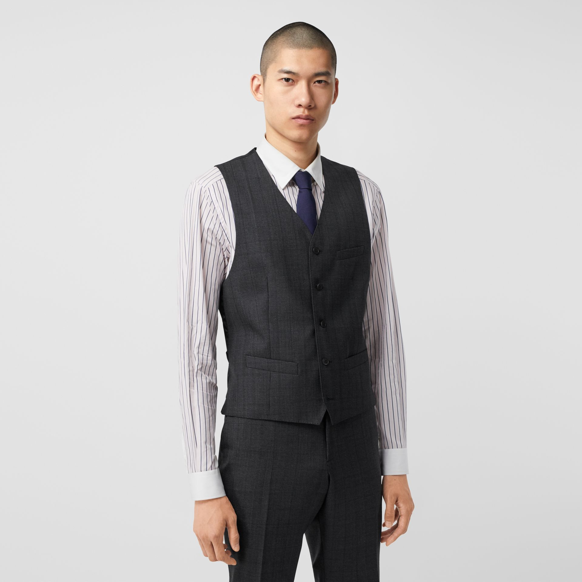 Classic Fit Check Wool Three-piece Suit in Charcoal Melange - Men | Burberry - gallery image 6