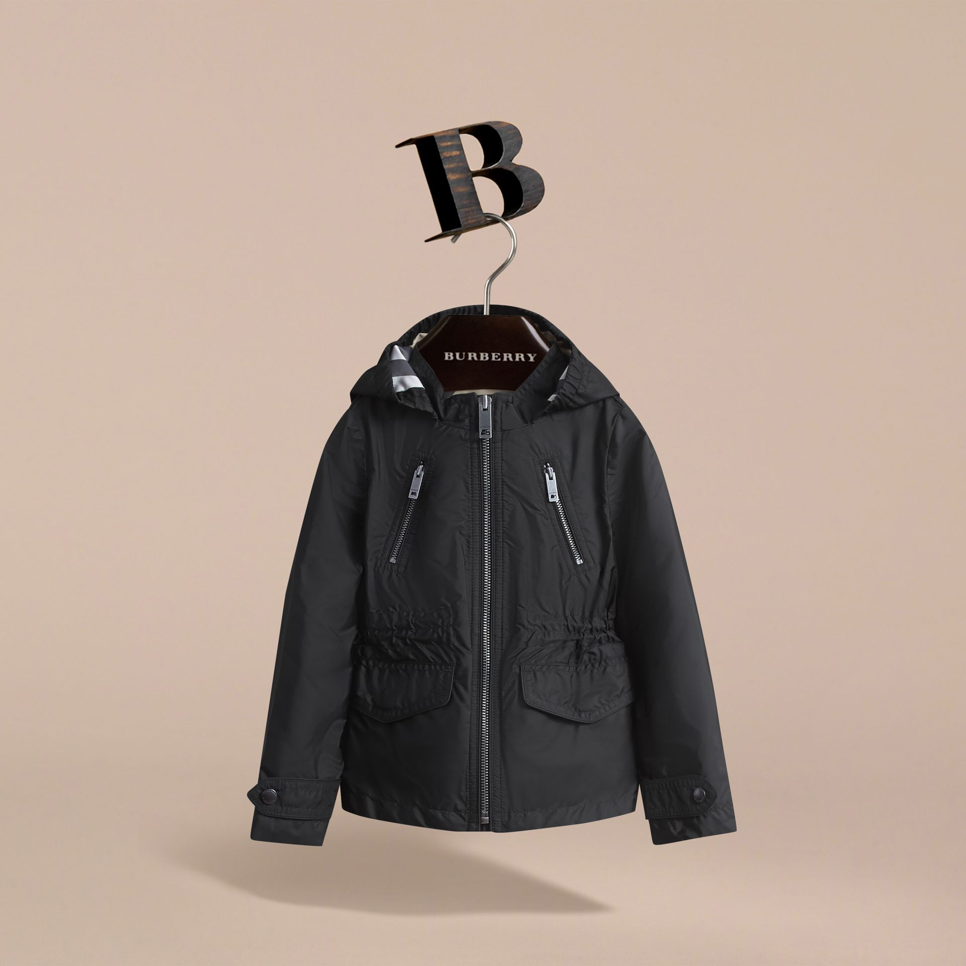 Hooded Packaway Technical Jacket in Black - Girl | Burberry - gallery image 3