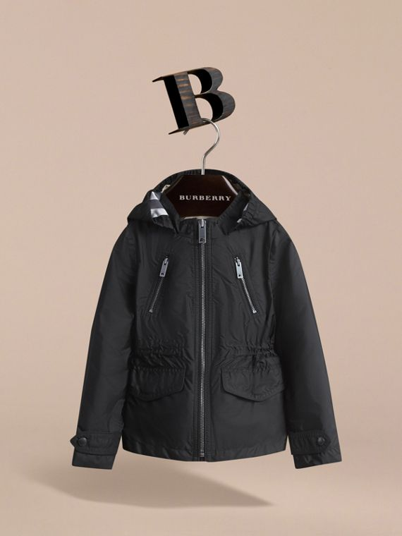 Hooded Packaway Technical Jacket in Black - Girl | Burberry - cell image 2