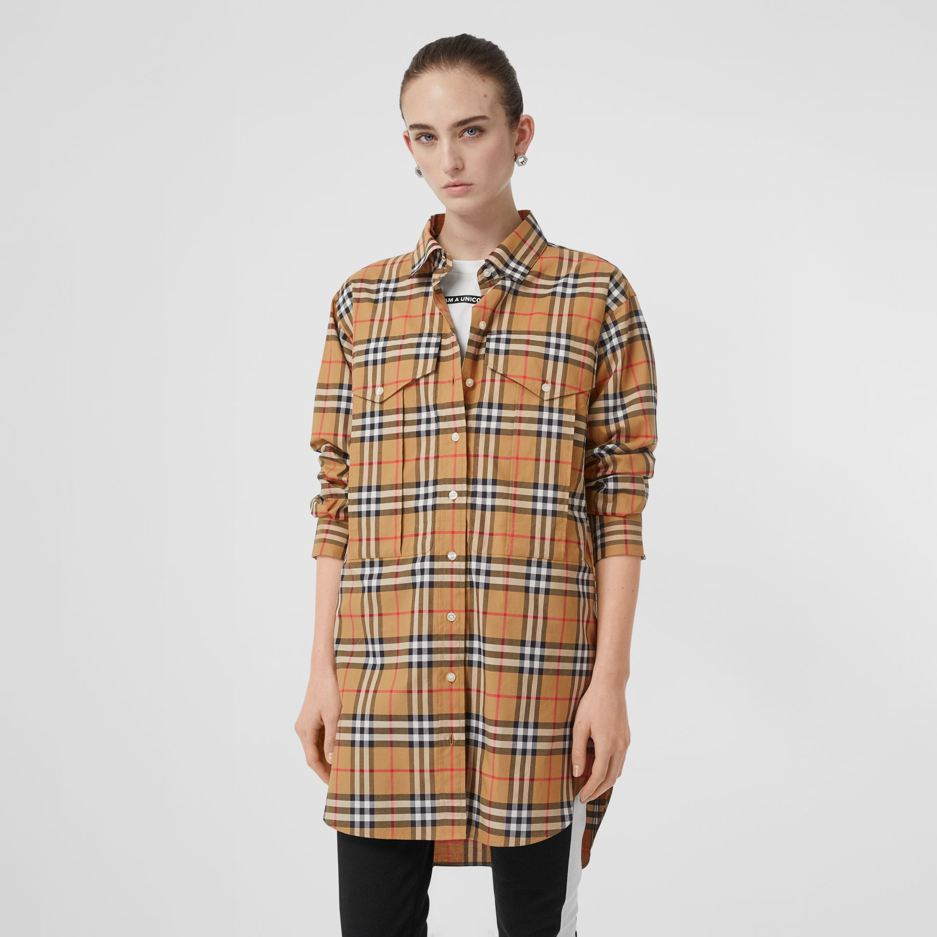 Vintage Check Cotton Oversized Shirt in Antique Yellow - Women | Burberry Singapore - gallery image 4