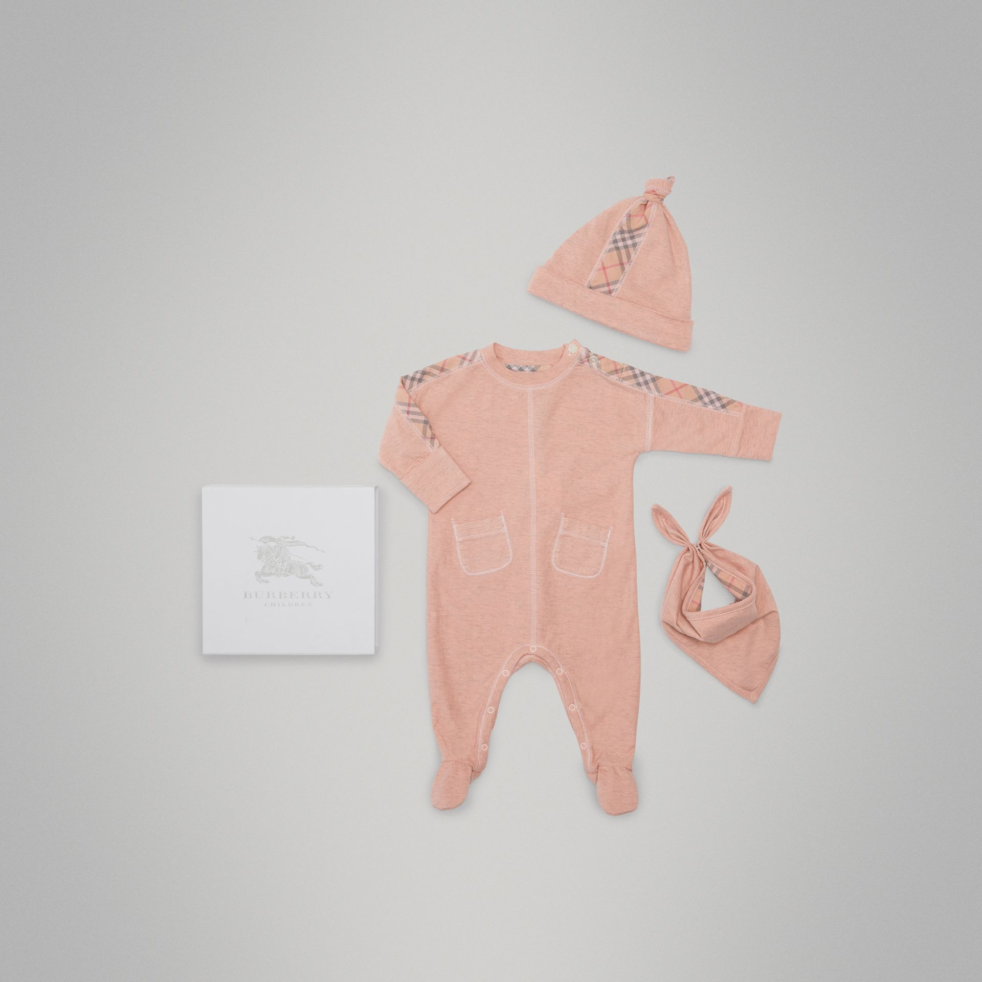 Check Cotton Three-piece Baby Gift Set in Light Rose - Children | Burberry - gallery image 0