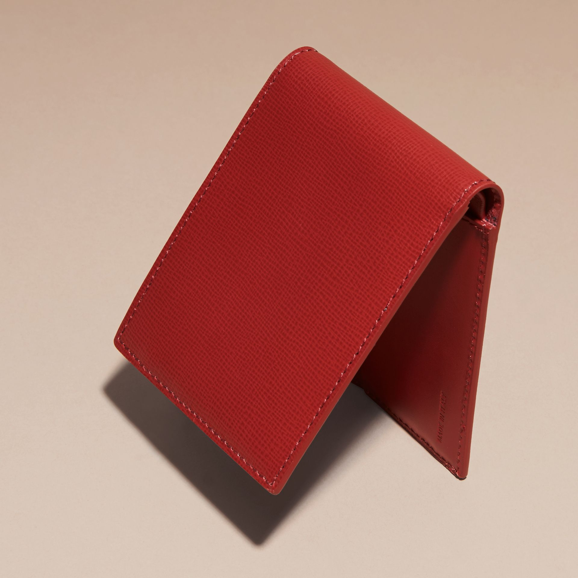 Dark military red London Leather Folding Wallet - gallery image 4