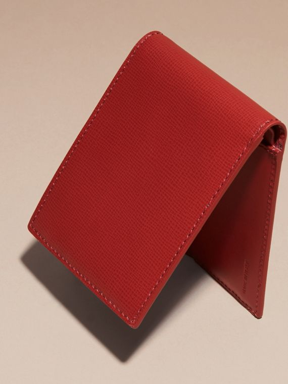 Dark military red London Leather Folding Wallet - cell image 3