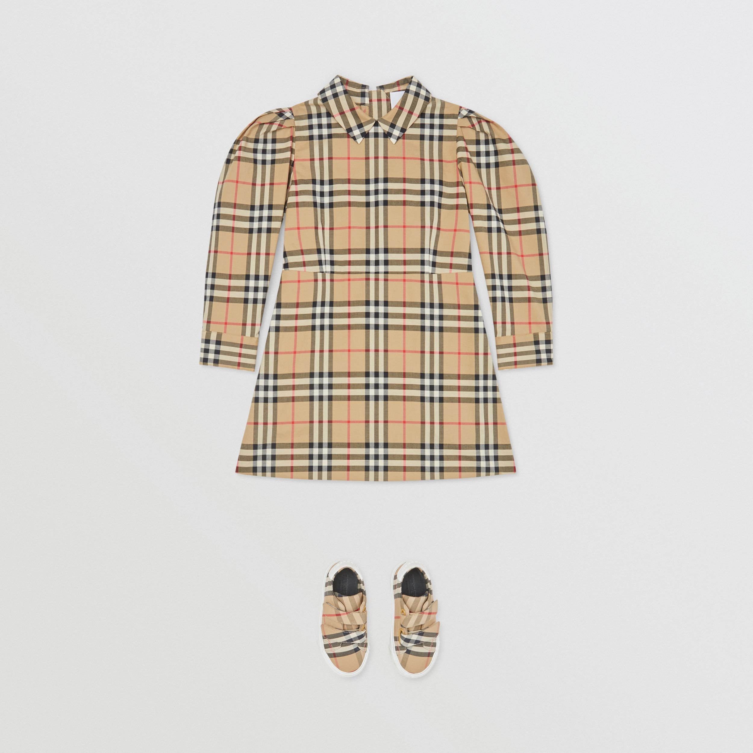 Puff-sleeve Vintage Check Cotton Dress in Archive Beige | Burberry - 3