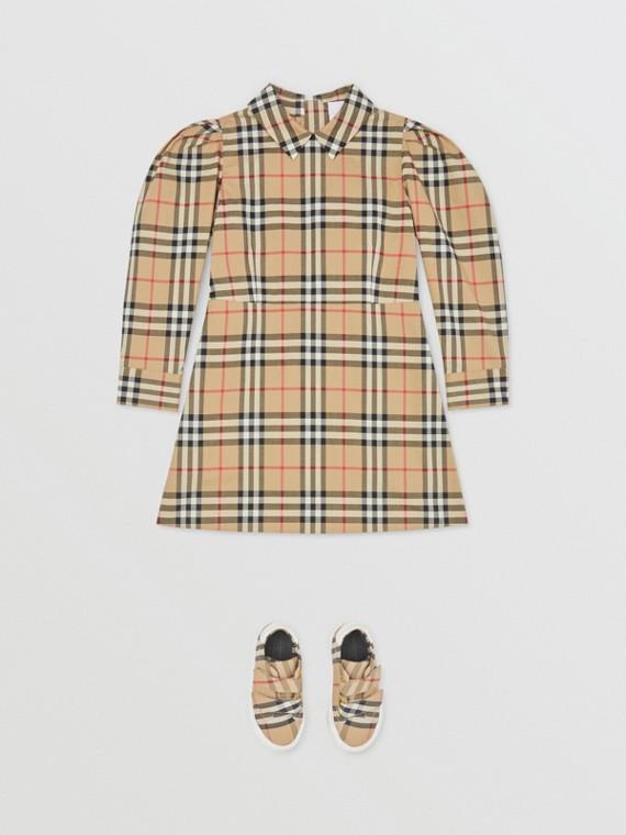 퍼프 슬리브 빈티지 체크 코튼 드레스 (아카이브 베이지)