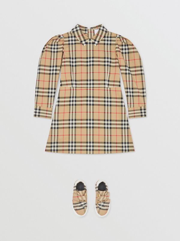 Puff-sleeve Vintage Check Cotton Dress in Archive Beige | Burberry United Kingdom - cell image 2