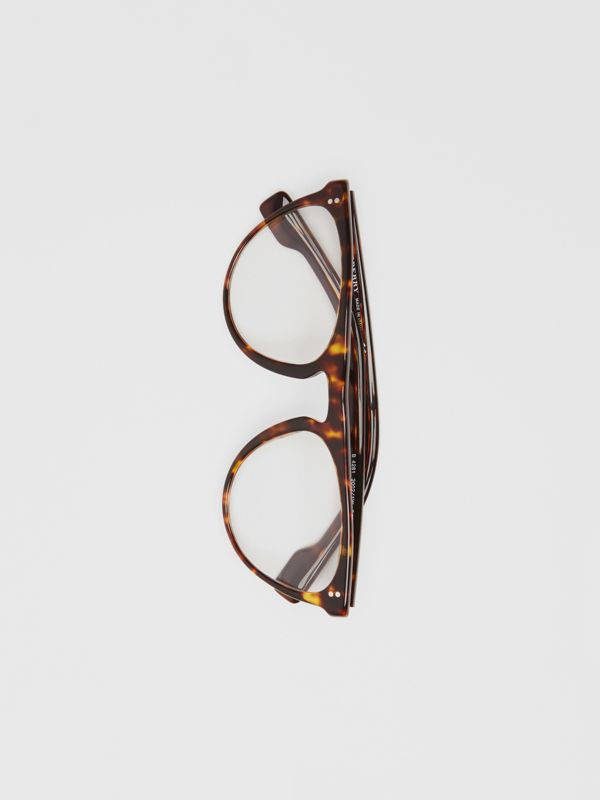 Keyhole D-shaped Optical Frames in Tortoise Shell - Men | Burberry - cell image 3