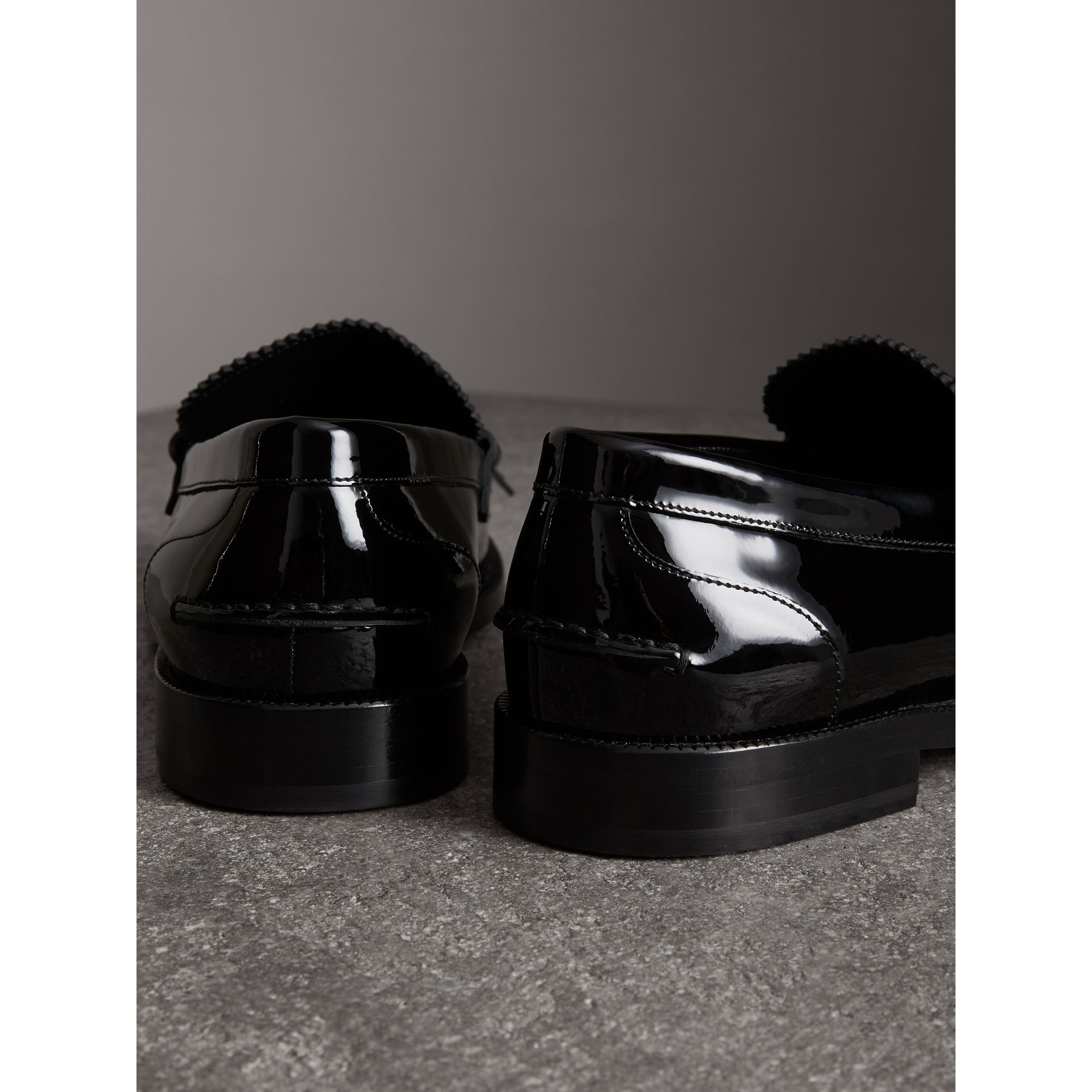 Kiltie Fringe Patent Leather Loafers in Black - Men | Burberry Australia - gallery image 3