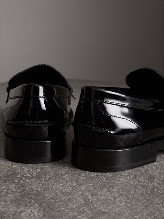 Kiltie Fringe Patent Leather Loafers in Black - Men | Burberry Canada - cell image 3