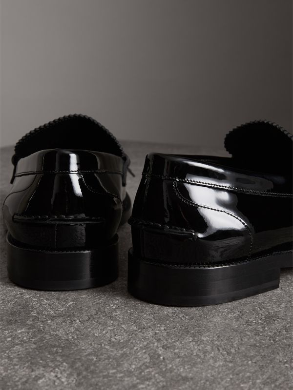 Kiltie Fringe Patent Leather Loafers in Black - Men | Burberry Singapore - cell image 3