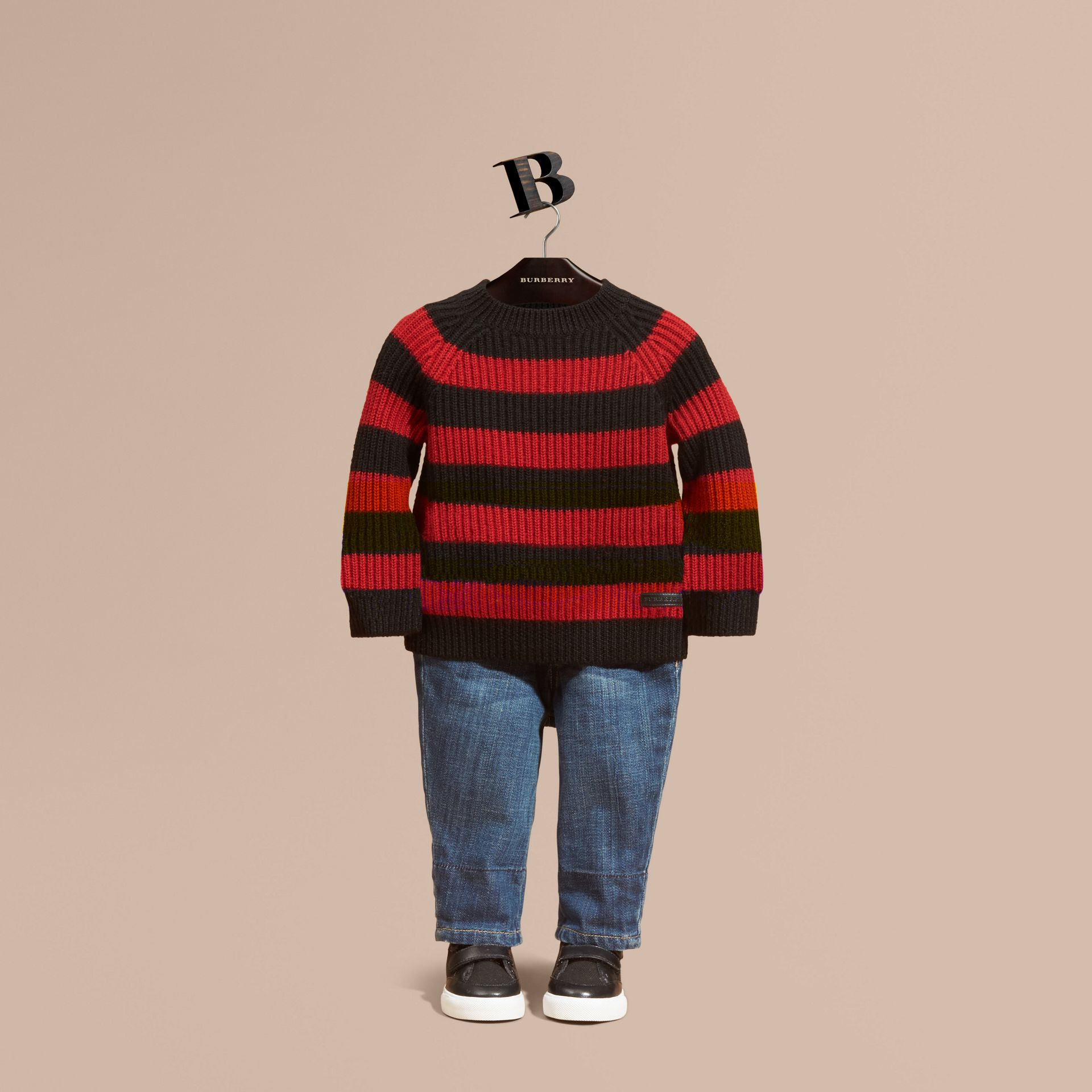 Parade red Striped Merino Wool Sweater - gallery image 1