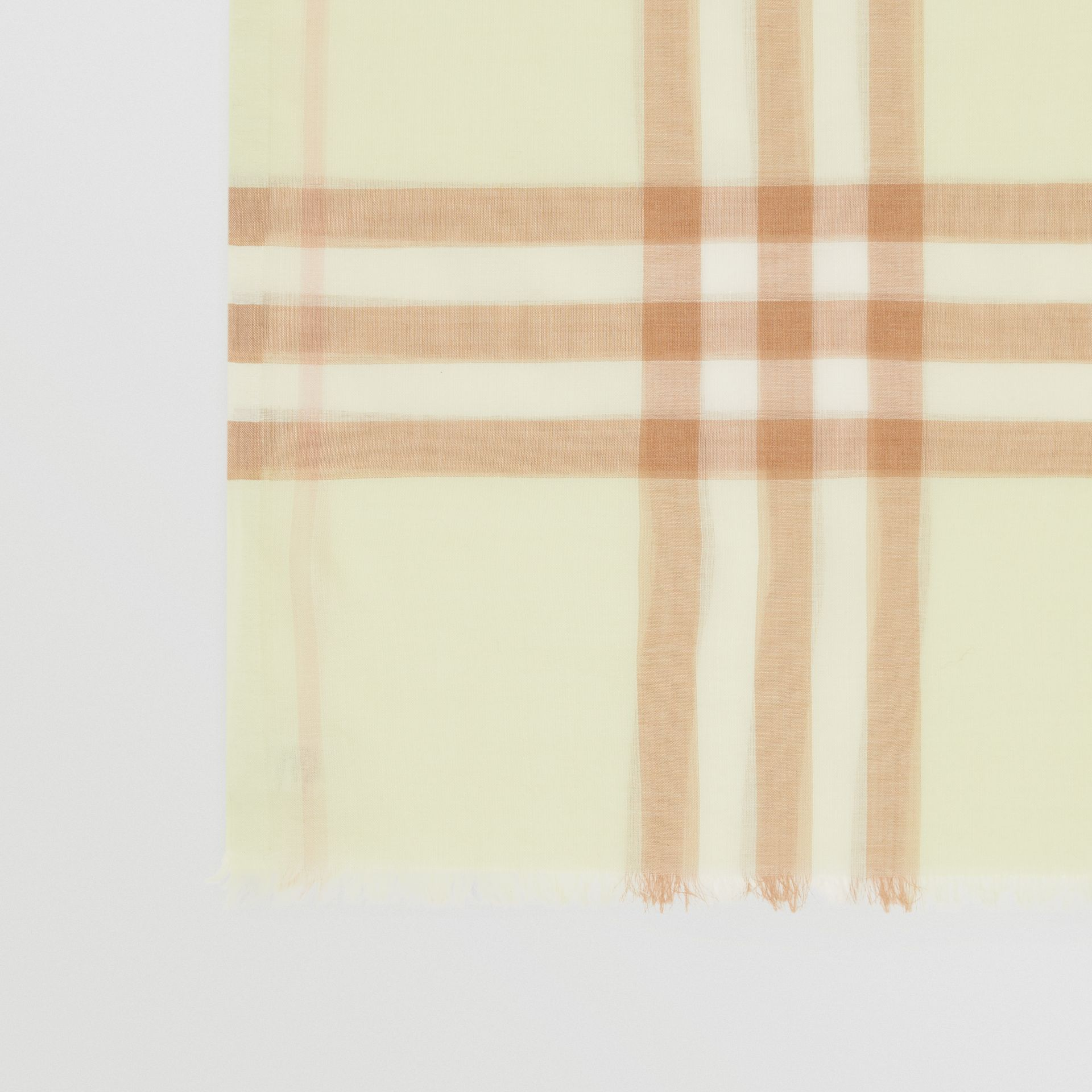 Lightweight Check Wool Silk Scarf in Pistachio | Burberry - gallery image 1
