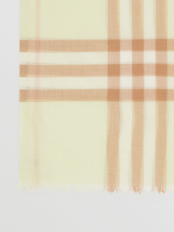 Lightweight Check Wool Silk Scarf in Pistachio | Burberry - cell image 1