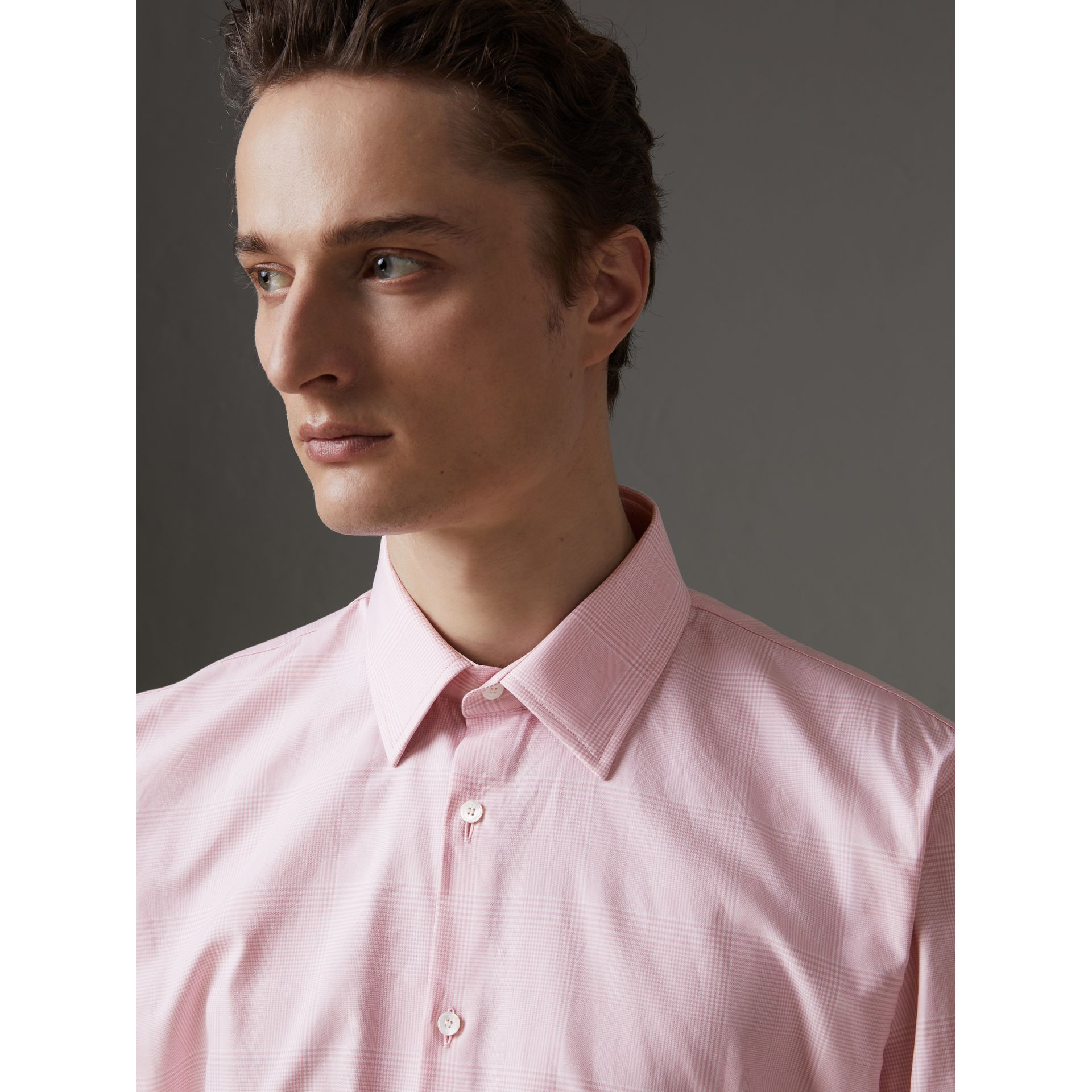 Modern Fit Check Cotton Shirt in Light Pink - Men | Burberry - gallery image 1