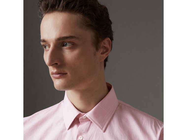Modern Fit Check Cotton Shirt in Light Pink - Men | Burberry - cell image 1