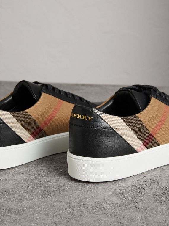 Check Detail Leather Sneakers in House Check/black - Women | Burberry Hong Kong - cell image 3