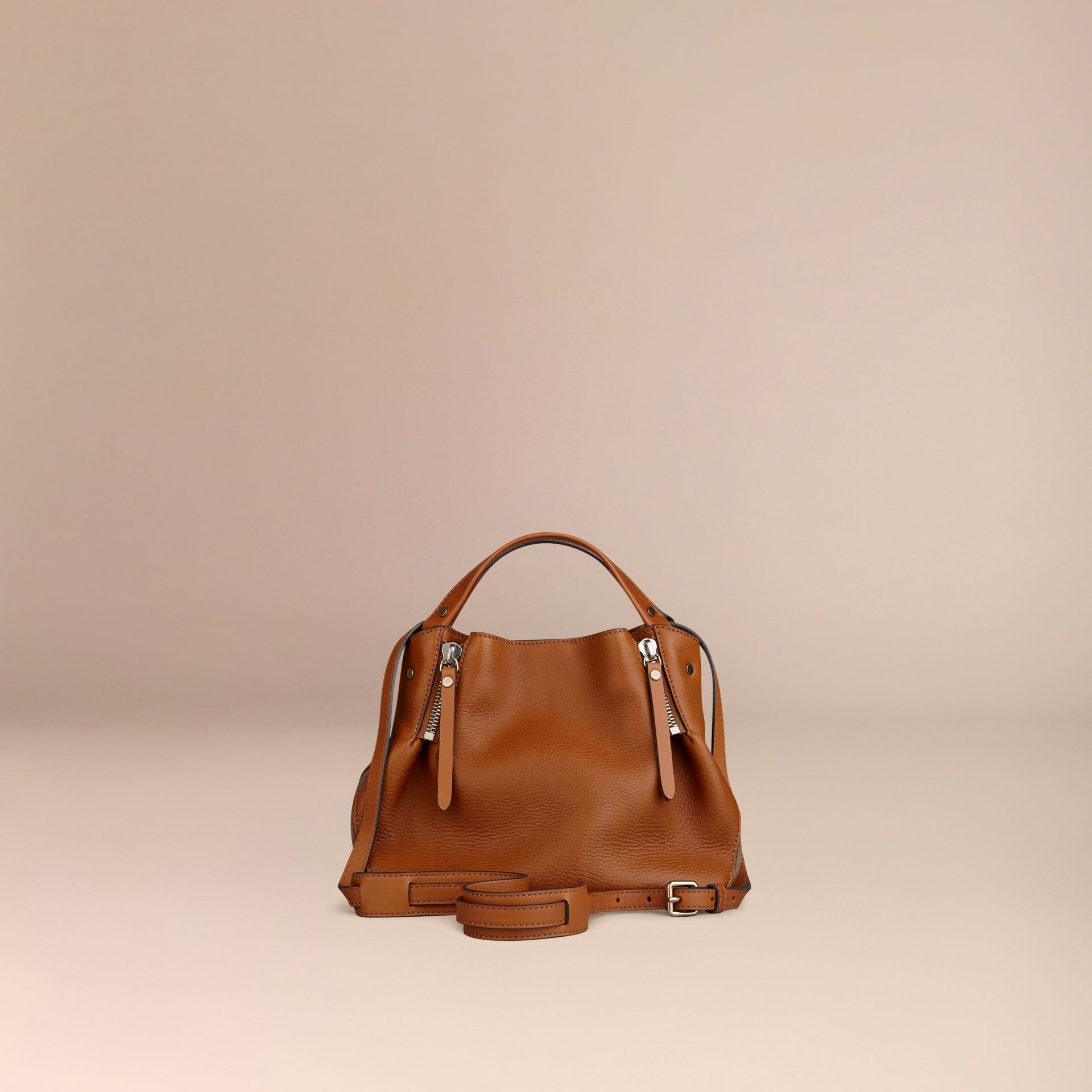 Saddle brown Small Check Detail Leather Tote Bag Saddle Brown - gallery image 5