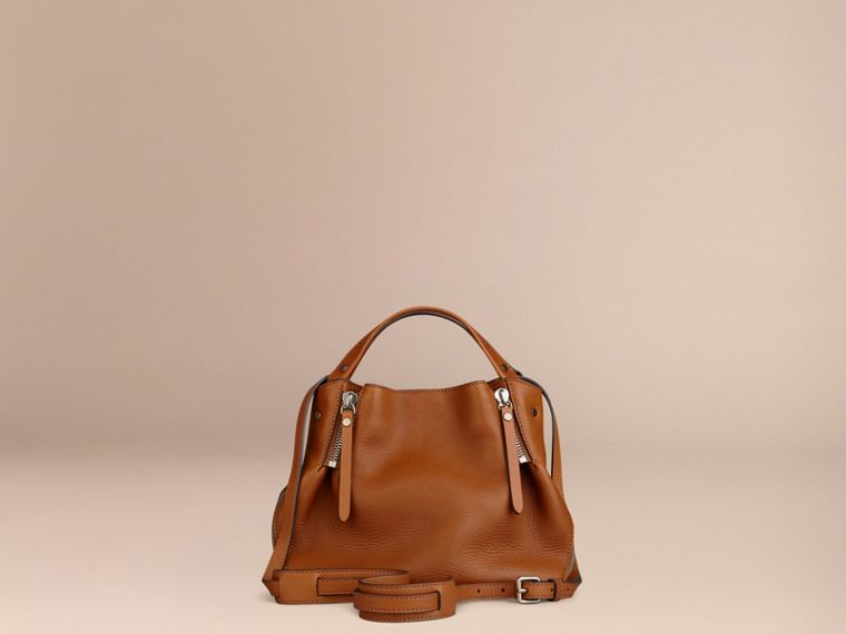 Saddle brown Small Check Detail Leather Tote Bag Saddle Brown - cell image 4