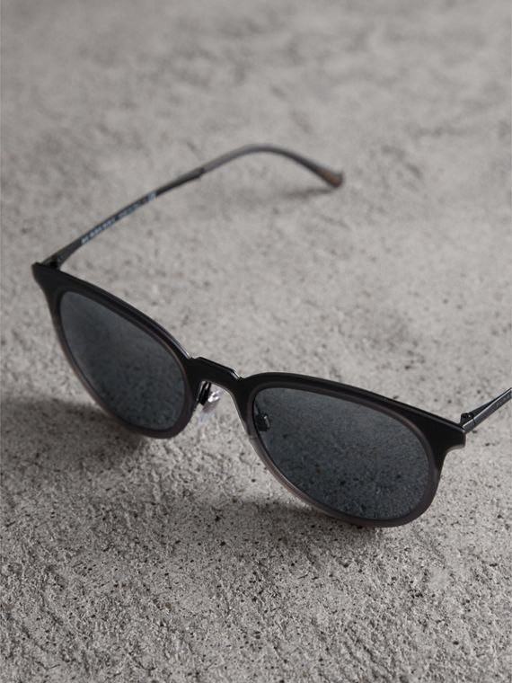 Round Frame Sunglasses in Grey - Men | Burberry - cell image 2