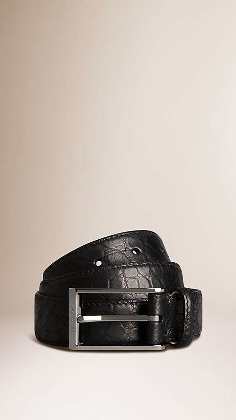 Black Alligator Leather Belt - Image 1