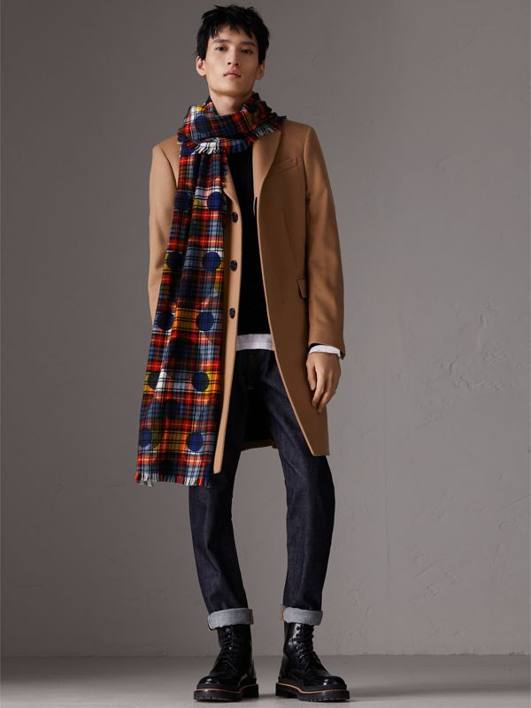 Dot Print Tartan Wool Scarf in Bright Red | Burberry - cell image 3