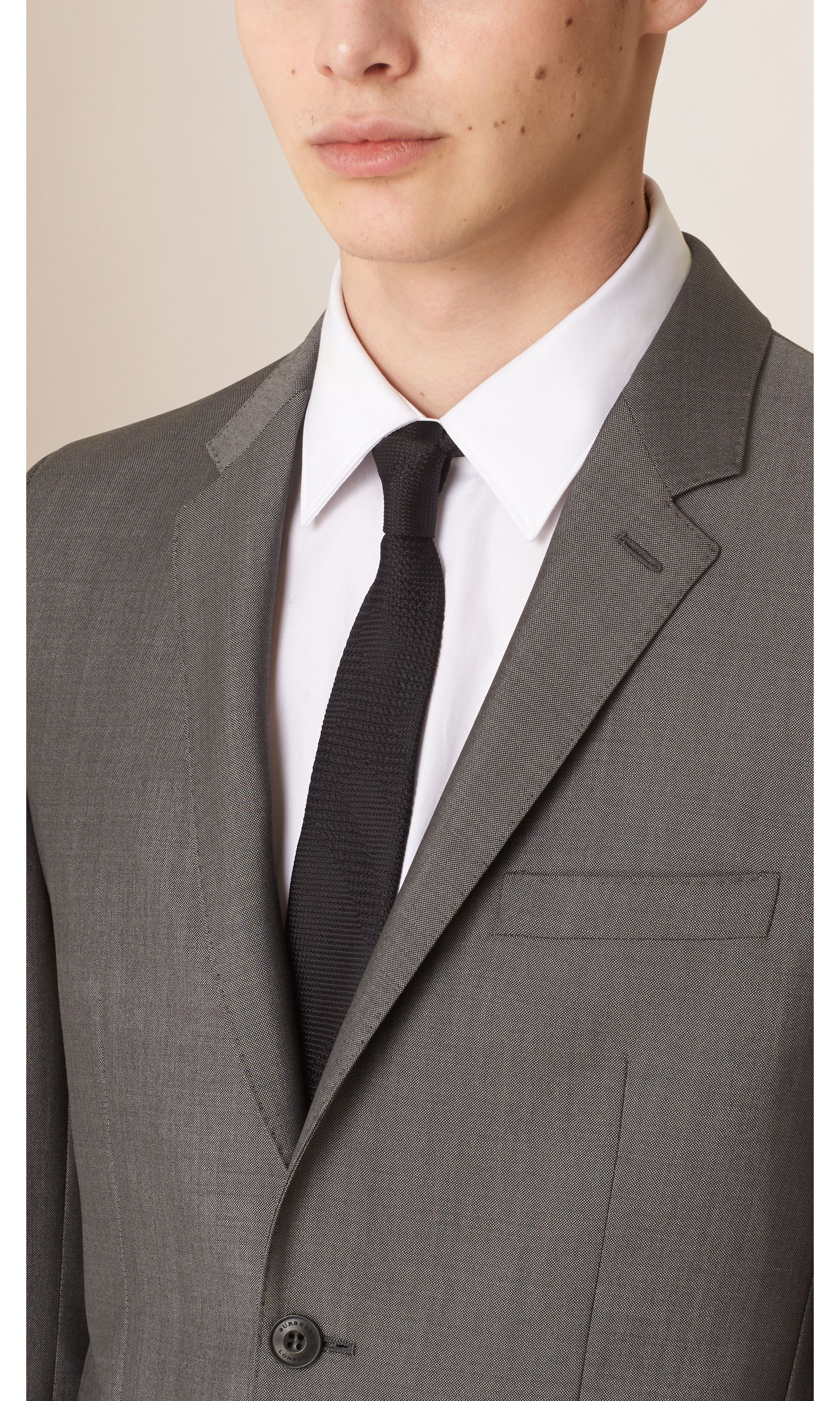 Mid grey Slim Fit Wool Mohair Part-canvas Suit Mid Grey - gallery image 3