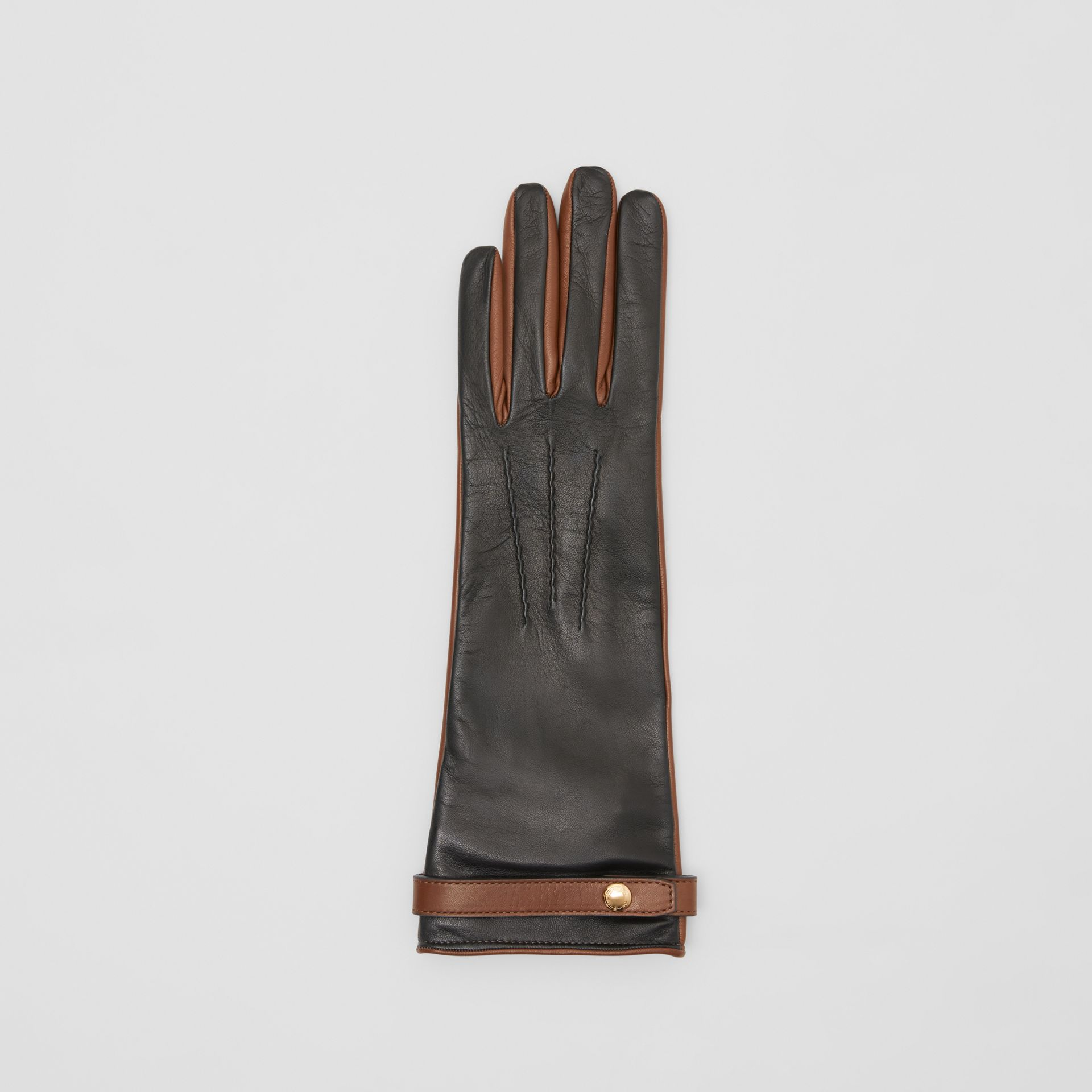 Silk-lined Two-tone Lambskin Gloves in Black/brown | Burberry Hong Kong S.A.R - gallery image 2