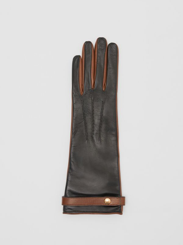 Silk-lined Two-tone Lambskin Gloves in Black/brown | Burberry Hong Kong S.A.R - cell image 2