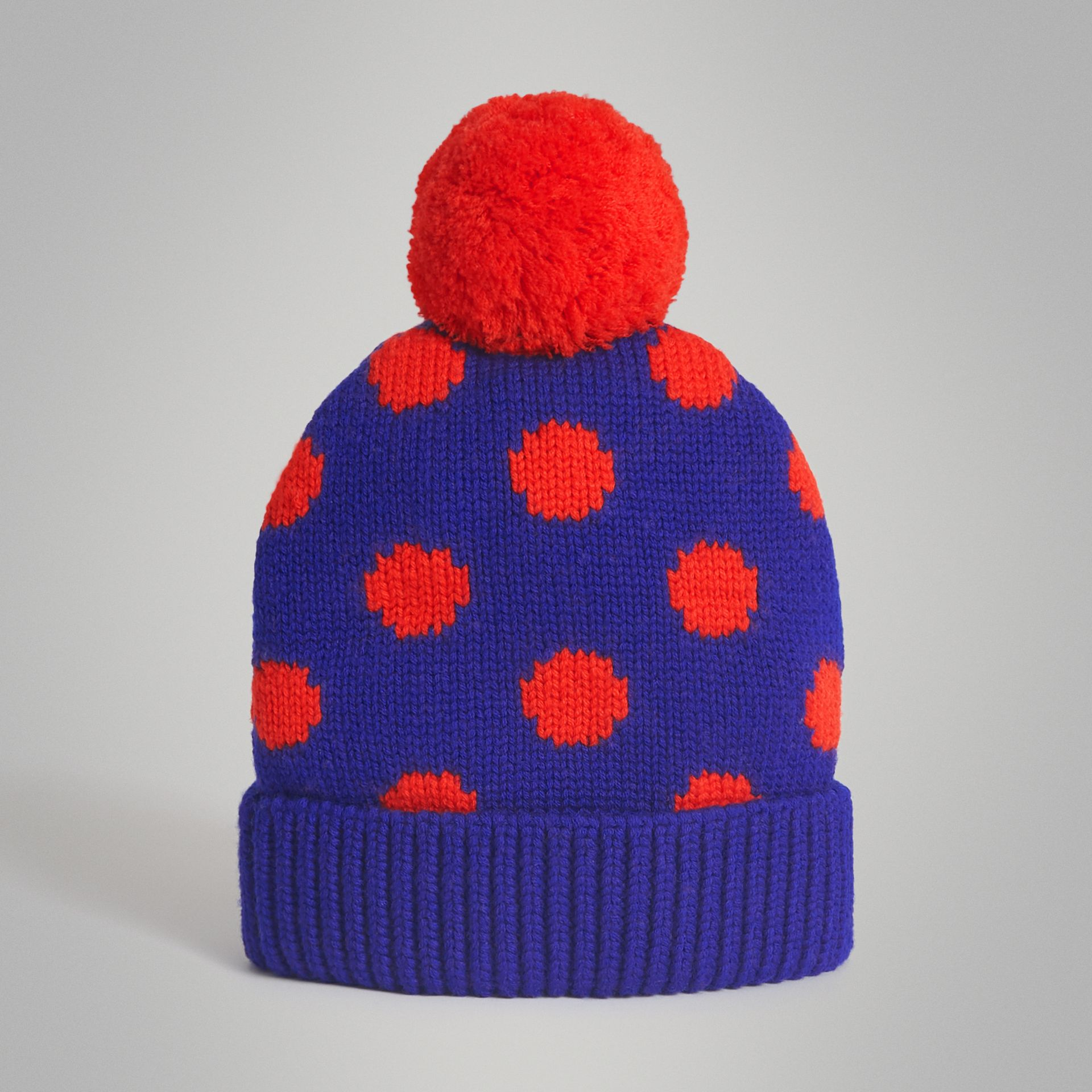 Polka Dot Wool Turnback Beanie in Dark Blue | Burberry Australia - gallery image 0