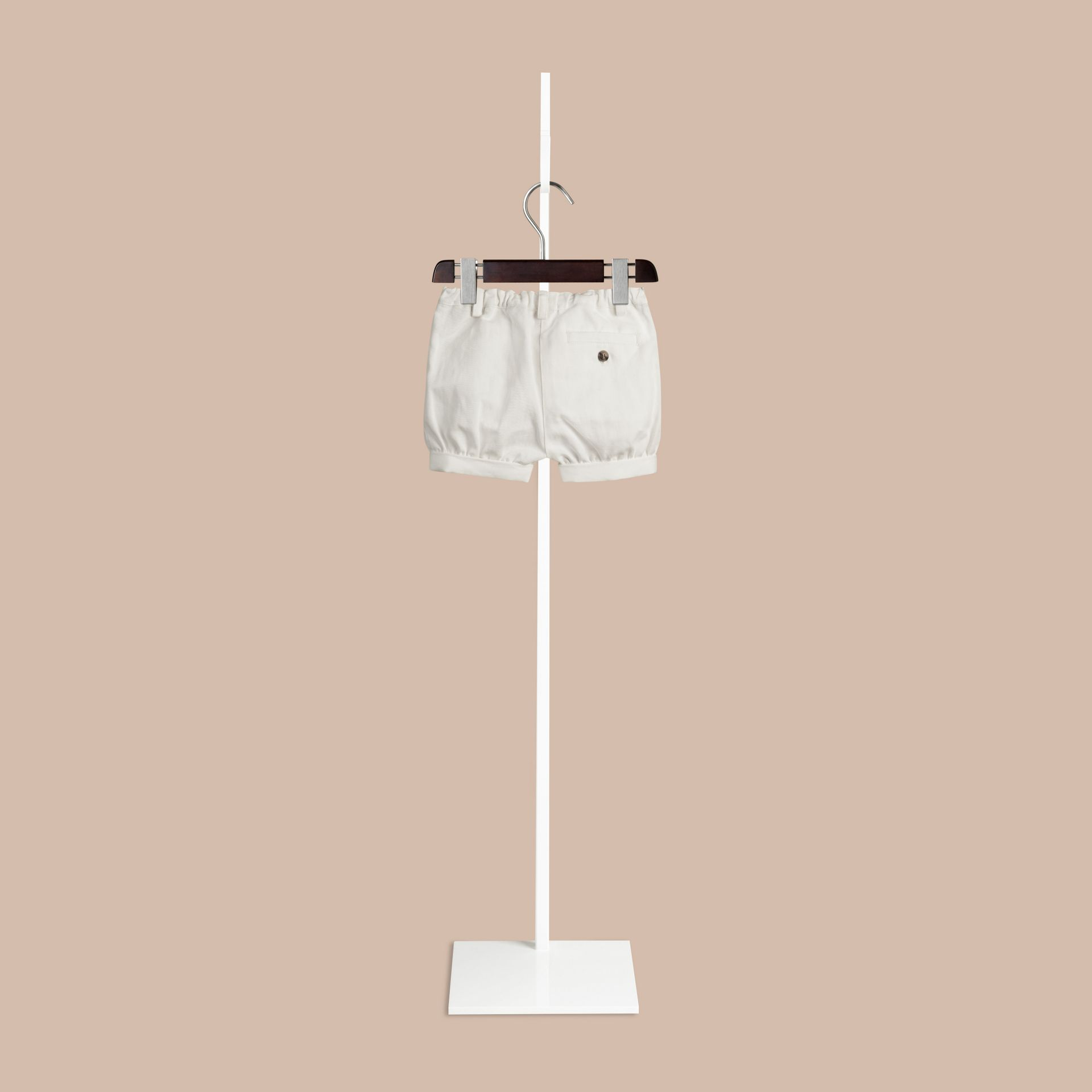 White Cotton Linen Chino Shorts - gallery image 2