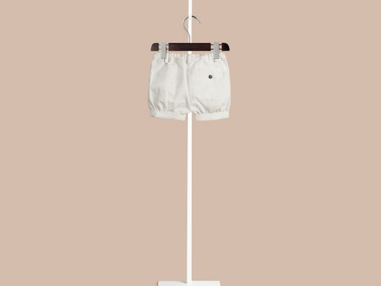 White Cotton Linen Chino Shorts - cell image 1