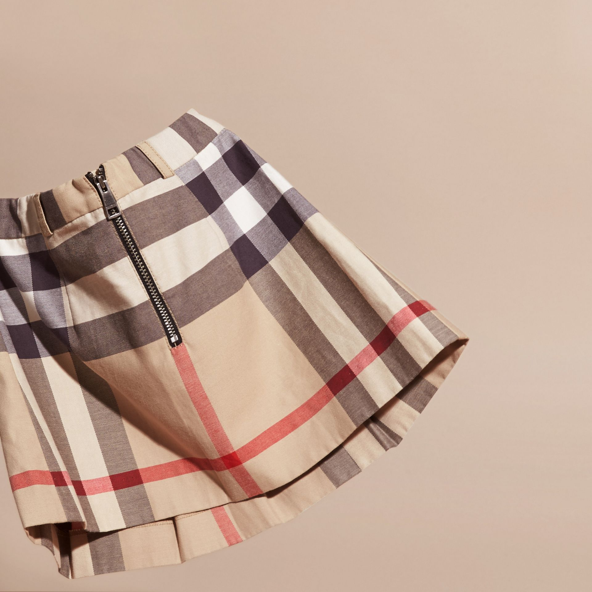 Pleated Check Cotton Skirt New Classic - gallery image 4