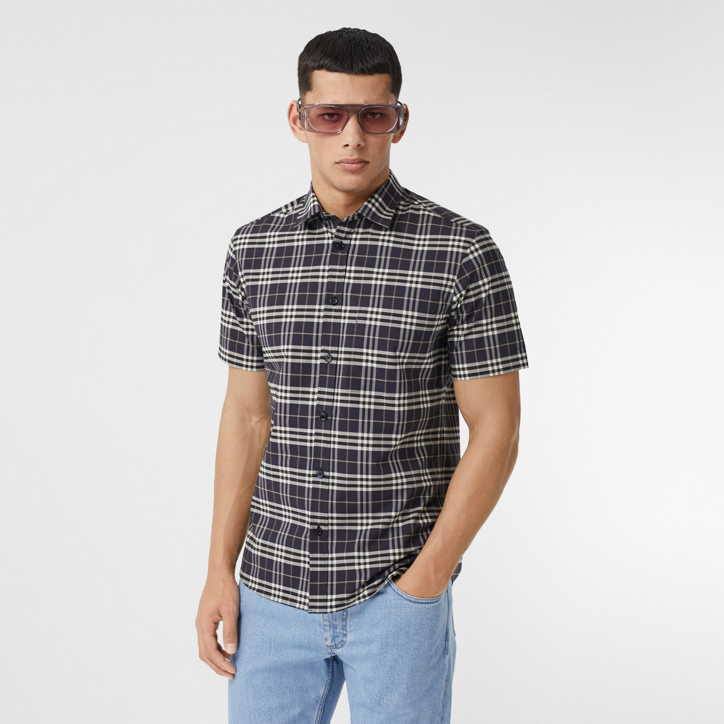Short-sleeve Small Scale Check Stretch Cotton Shirt in Dark Regency Blue - Men | Burberry - 1