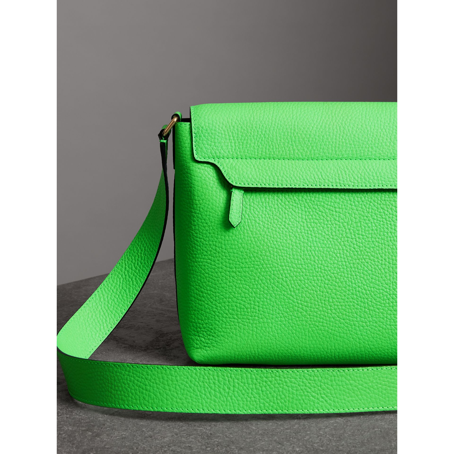 Medium Embossed Leather Messenger Bag in Neon Green | Burberry - gallery image 4