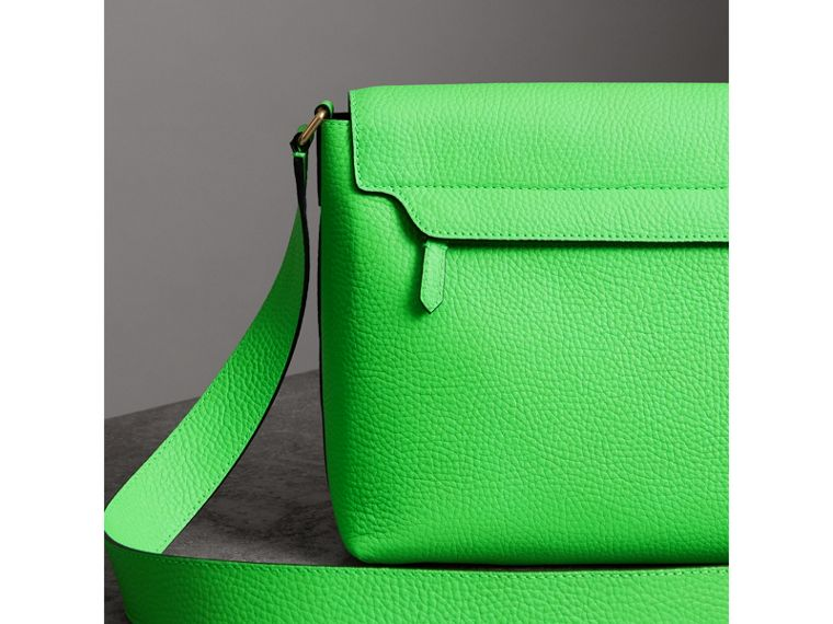 Medium Embossed Leather Messenger Bag in Neon Green | Burberry - cell image 4