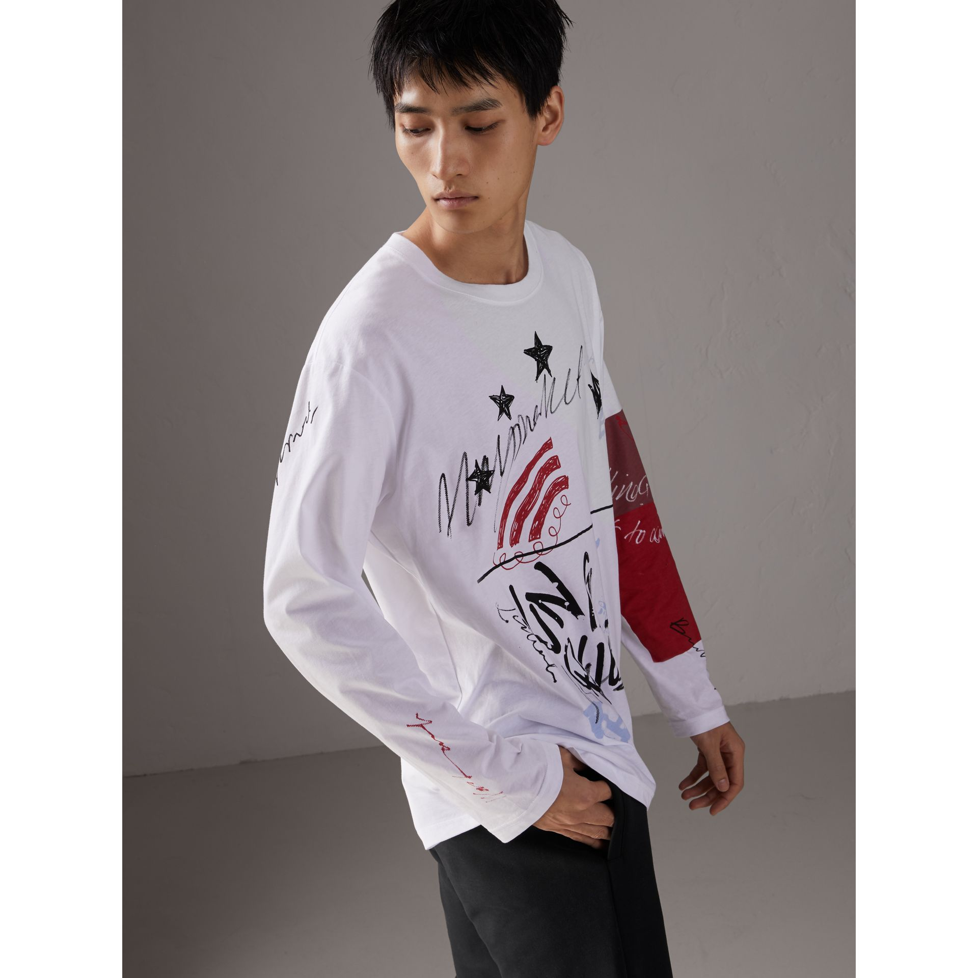Burberry x Kris Wu Long-sleeve Printed Cotton Top in White - Men | Burberry Canada - gallery image 5