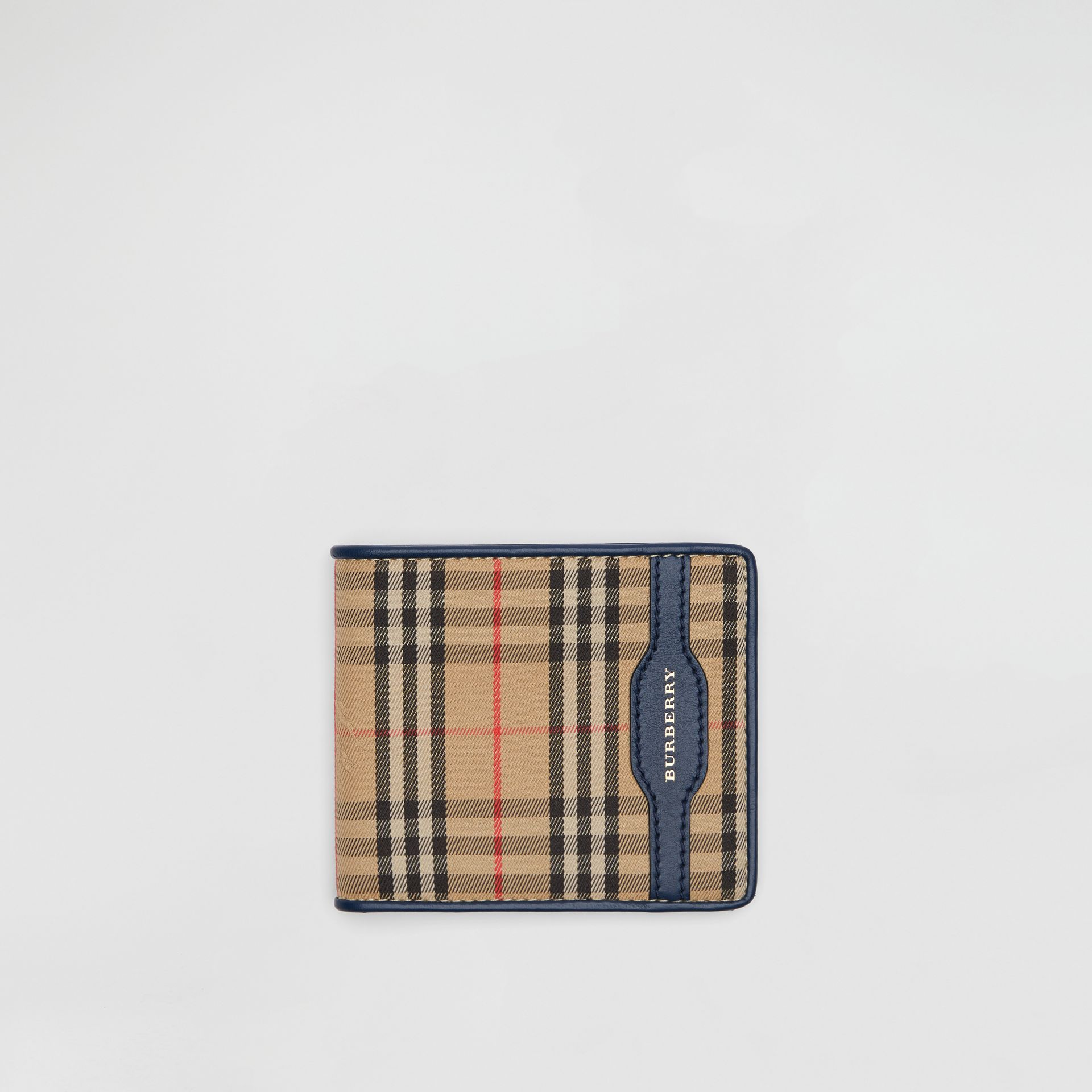 1983 Check and Leather International Bifold Wallet in Ink Blue - Men | Burberry Singapore - gallery image 0