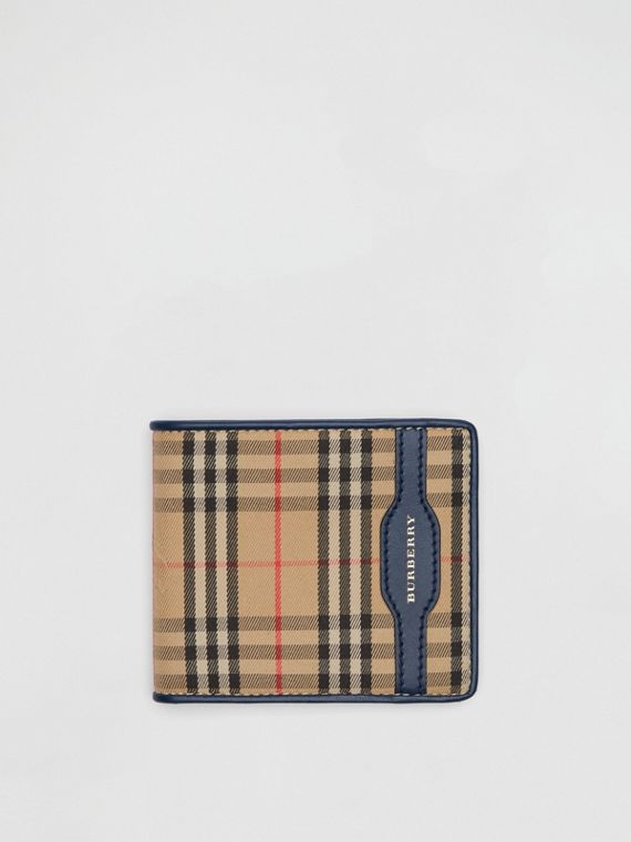 1983 Check and Leather International Bifold Wallet in Ink Blue