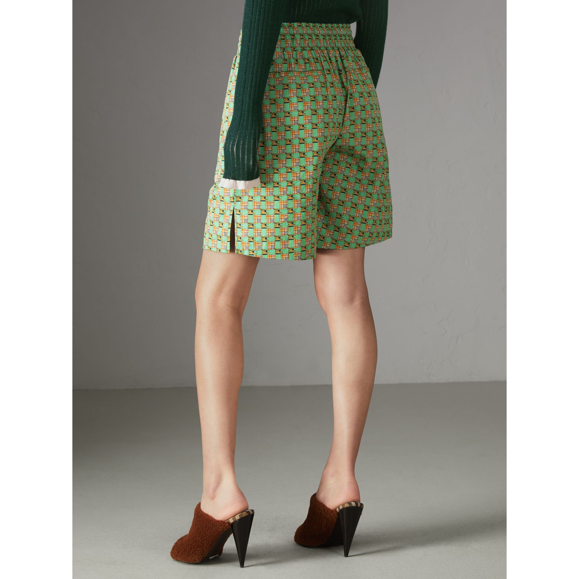 Tiled Archive Print Cotton Drawcord Shorts in Dark Forest Green - Women | Burberry - gallery image 2