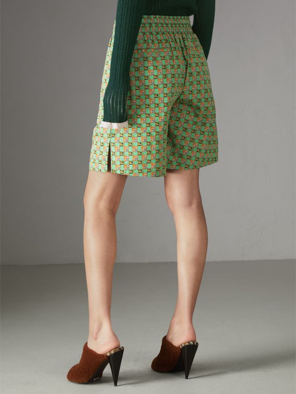 Tiled Archive Print Cotton Drawcord Shorts in Dark Forest Green - Women | Burberry - cell image 2